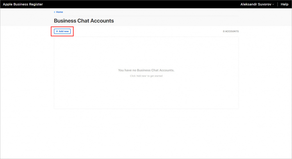 Add new Business Chat Account